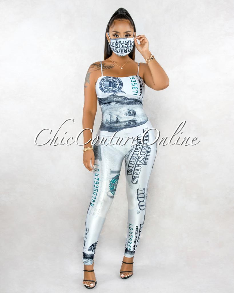 Rich Money Print Trim Details Fashion Mask Jumpsuit