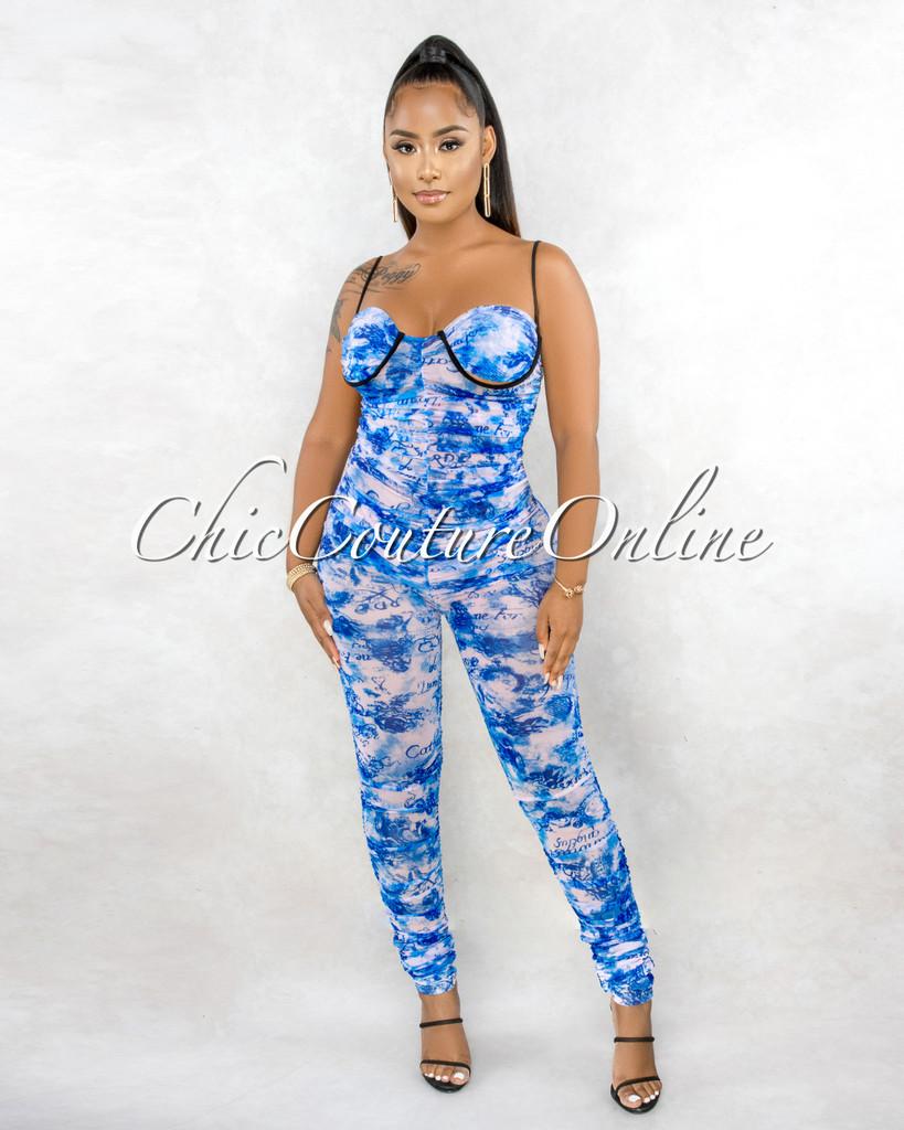 Heber Blue Pink Script Print Mesh Ruched Jumpsuit