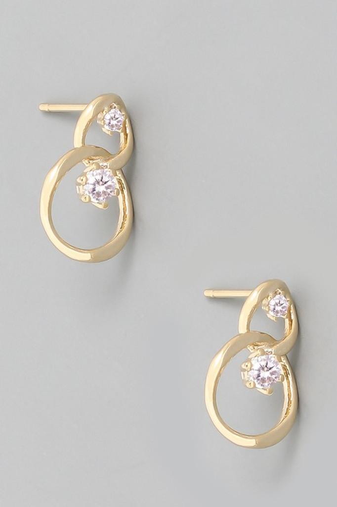 Shonna Mini Chain Link Studs with Rhinestones Earrings