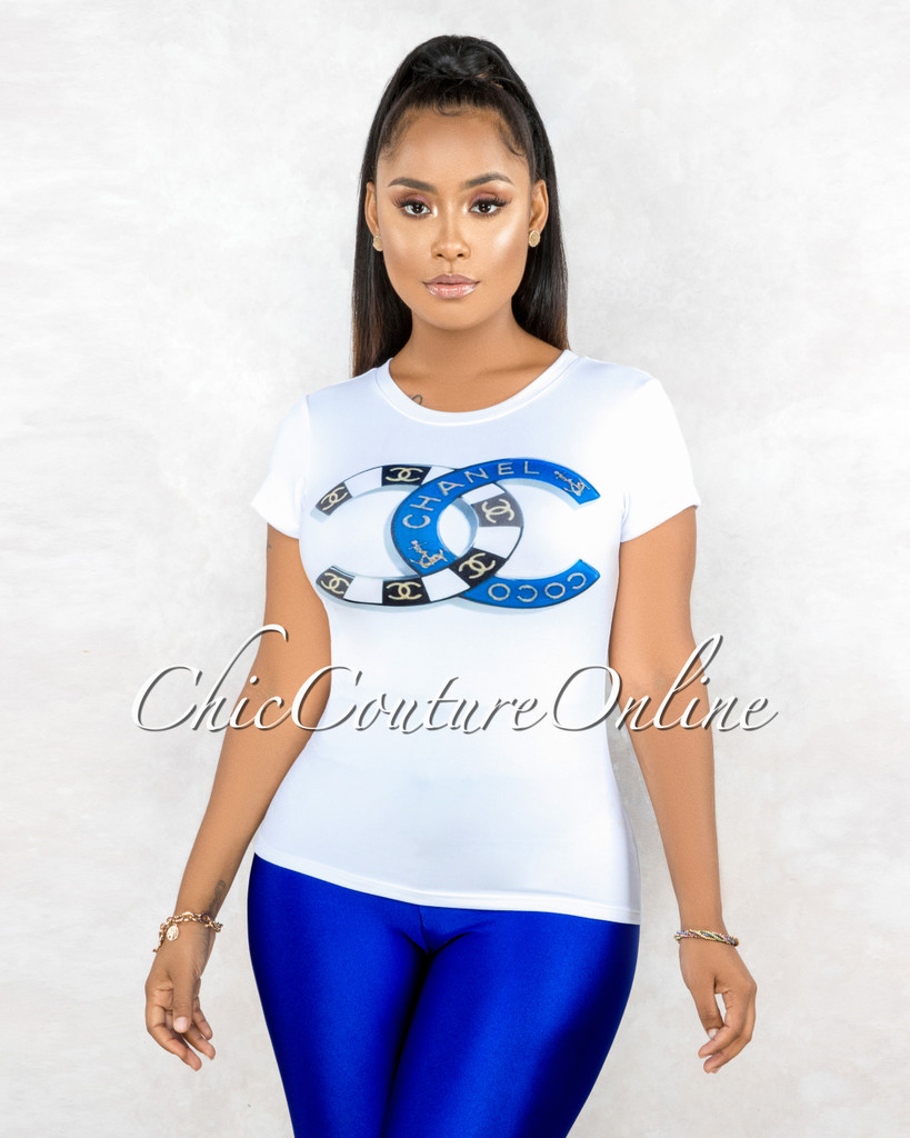 Domina White Blue Black Graphic T-Shirt