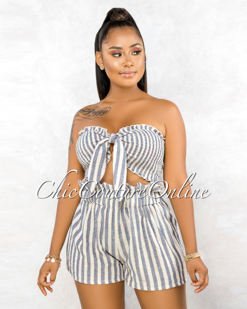 Varela Ivory Blue Stripes Paper-Bag Short Shorts Tie Top Set