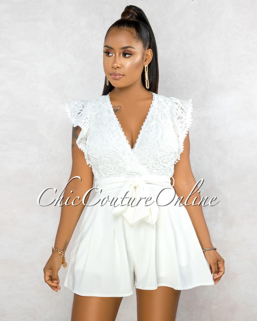 Sebastiana Off-White Embroidery Top Flutter Romper