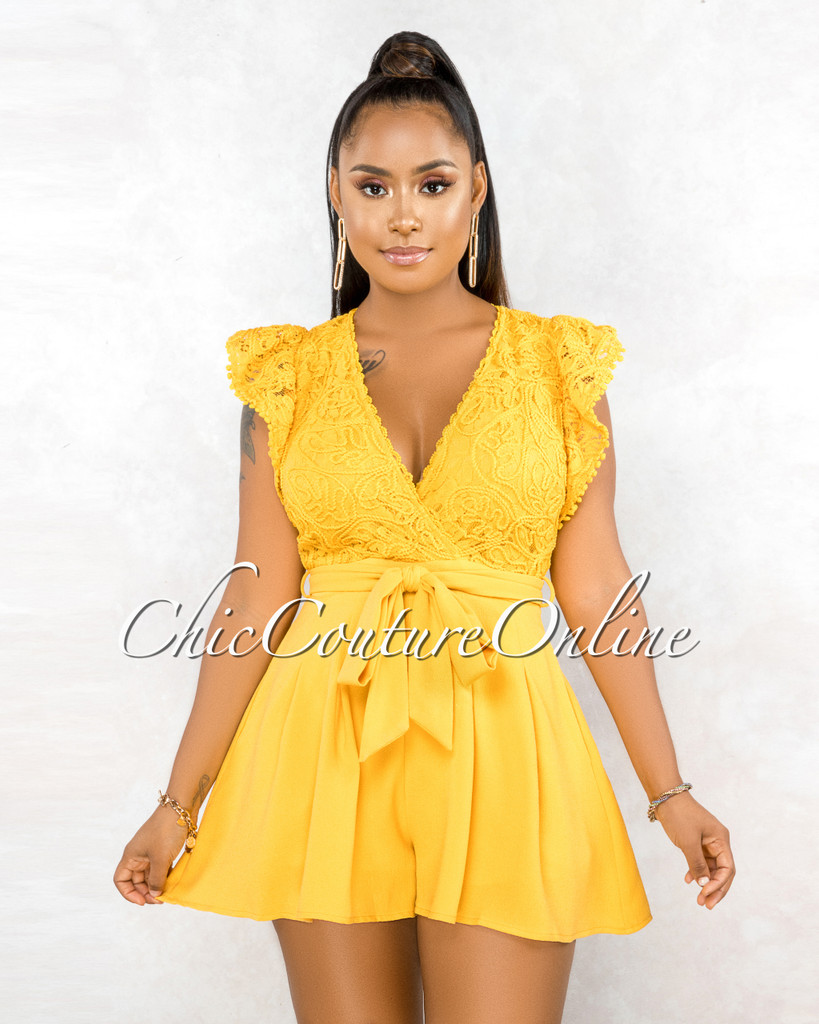 Sebastiana Mustard Yellow Embroidery Top Flutter Romper
