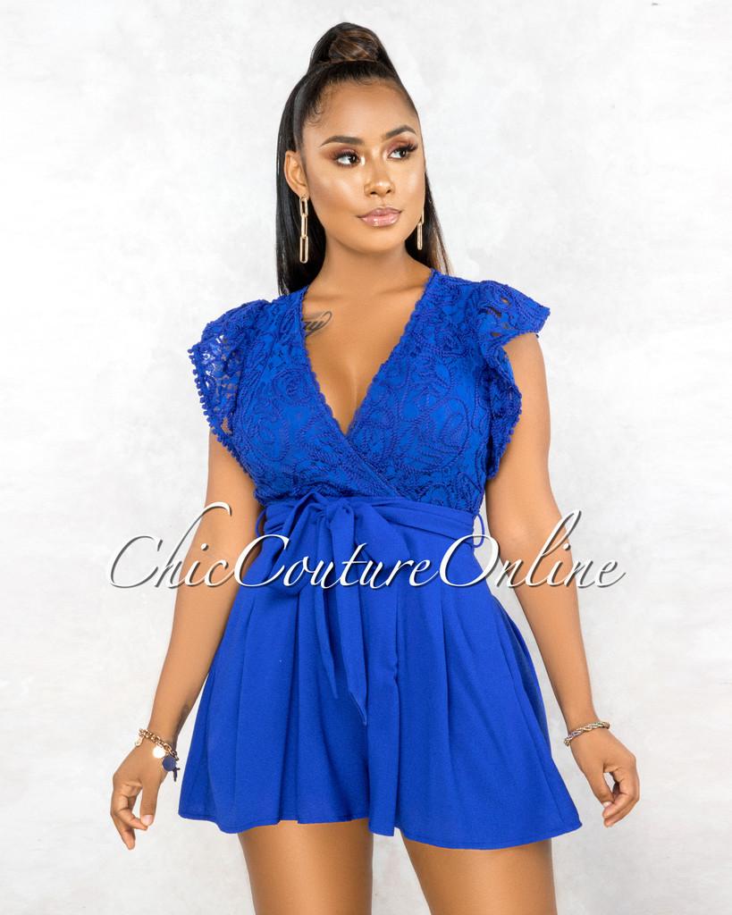 Sebastiana Royal Blue Embroidery Top Flutter Romper