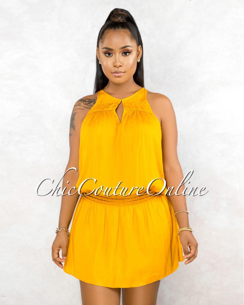 Clevon Mustard Ruffle Hem Ultra Mini Dress