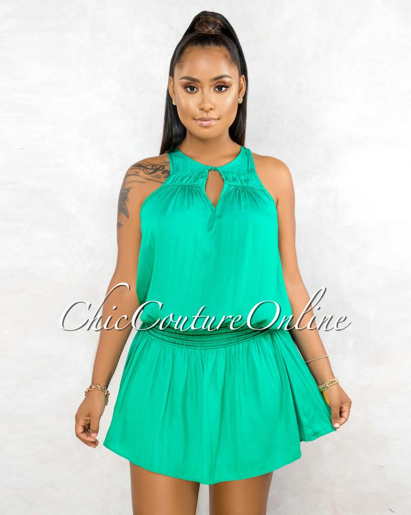 Clevon Emerald Green Ruffle Hem Ultra Mini Dress
