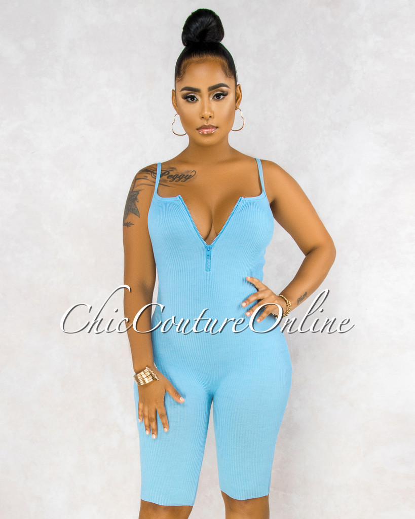 Ritza Baby Blue Front Zipper Biker Length Ribbed Romper