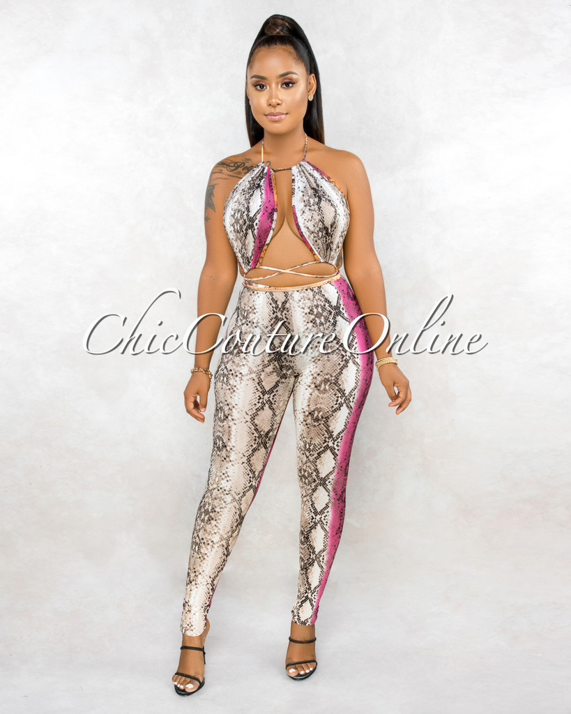 Fishel Brown Fuchsia Snake Print Cut-Out Jumpsuit