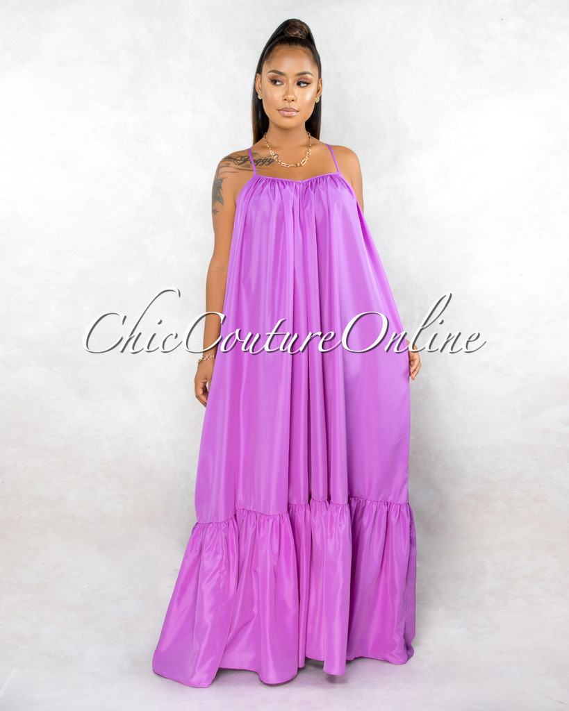Naman Lavender Low Back Ruffle Hem Maxi Shirt CURVACEOUS Dress