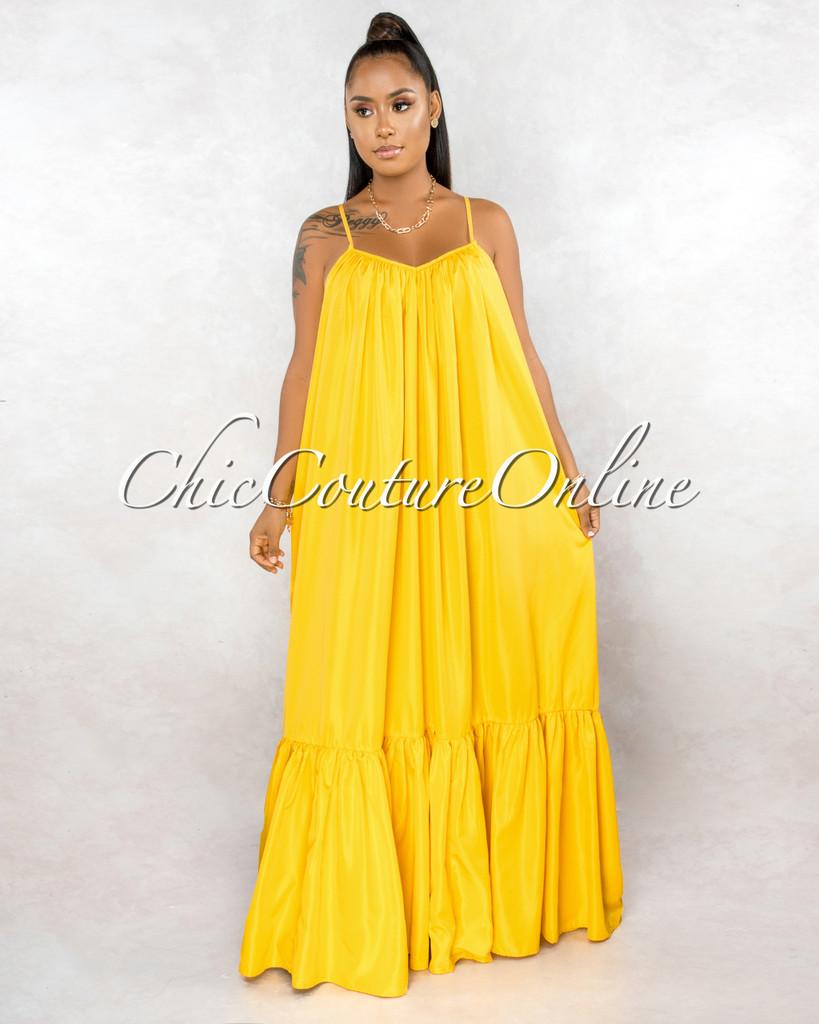 Naman Yellow Low Back Ruffle Hem Maxi Shirt CURVACEOUS Dress
