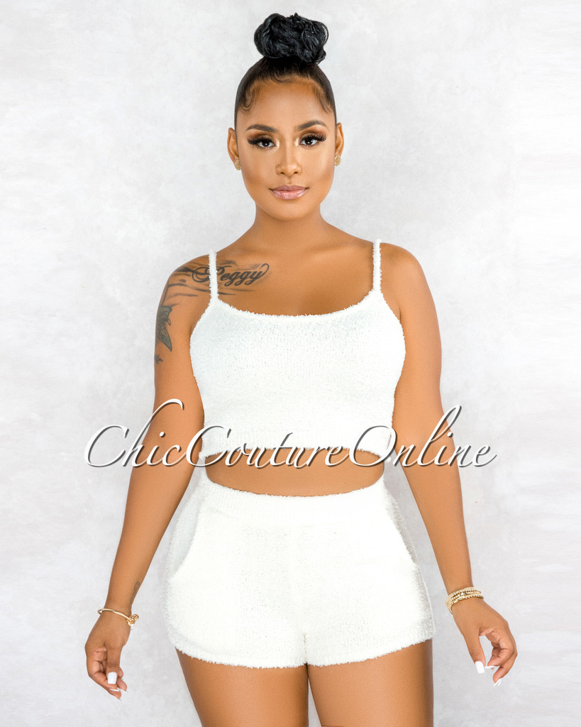 Inoke Ivory Fury Ultra Mini Shorts Two Piece Set