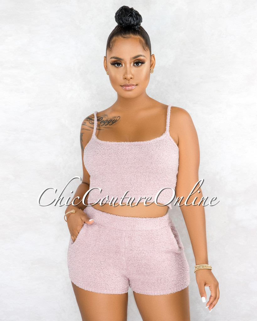 Inoke Mauve Fury Ultra Mini Shorts Two Piece Set