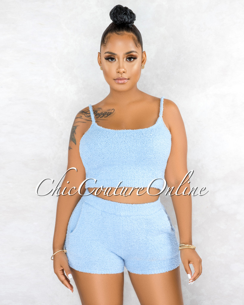Inoke Baby Blue Fury Ultra Mini Shorts Two Piece Set
