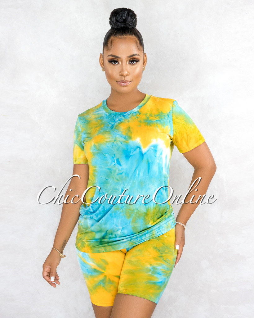 Omega Blue Green Yellow Tie-Dye Shorts Set