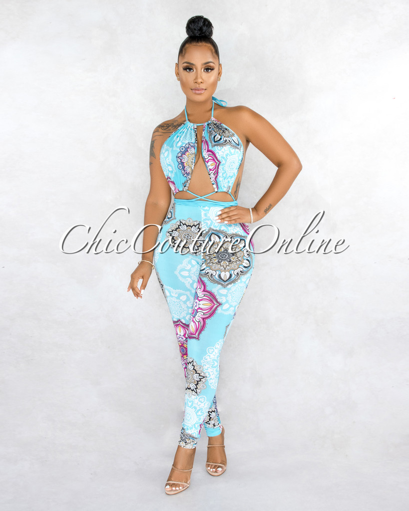 Elidad Turquoise Multi-Color Mandala Print Cut-Out Jumpsuit