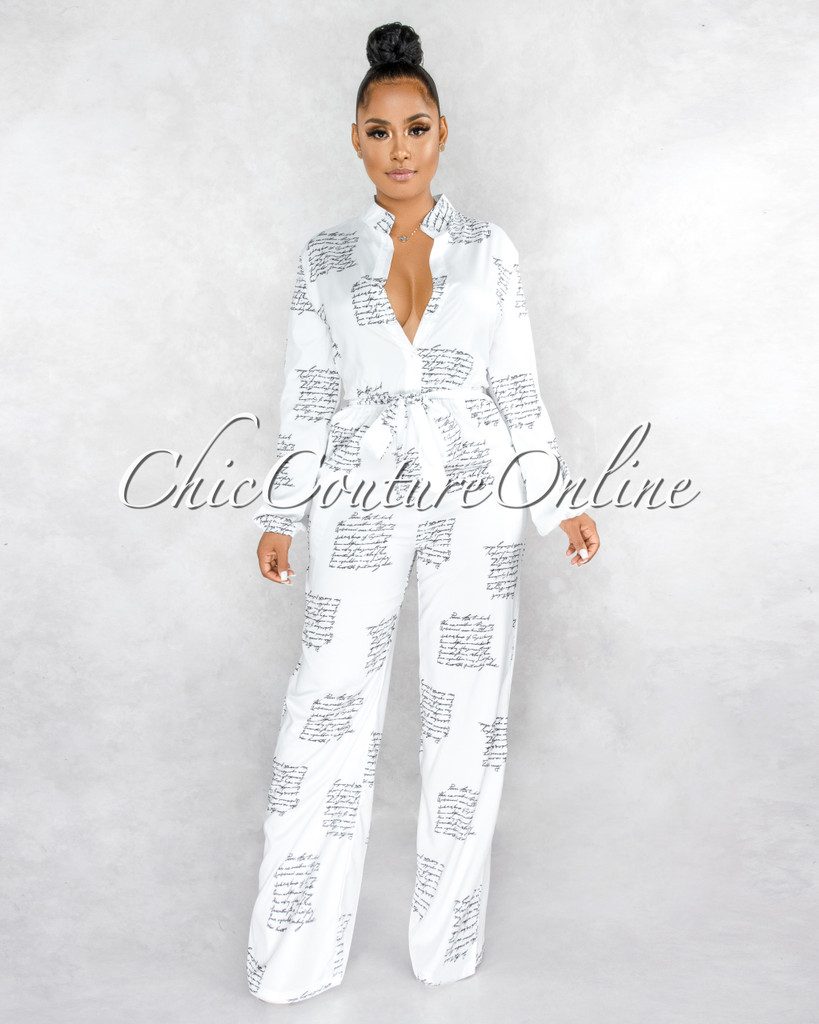 Tryne Off-White Black Handwriting Long Sleeves Jumpsuit