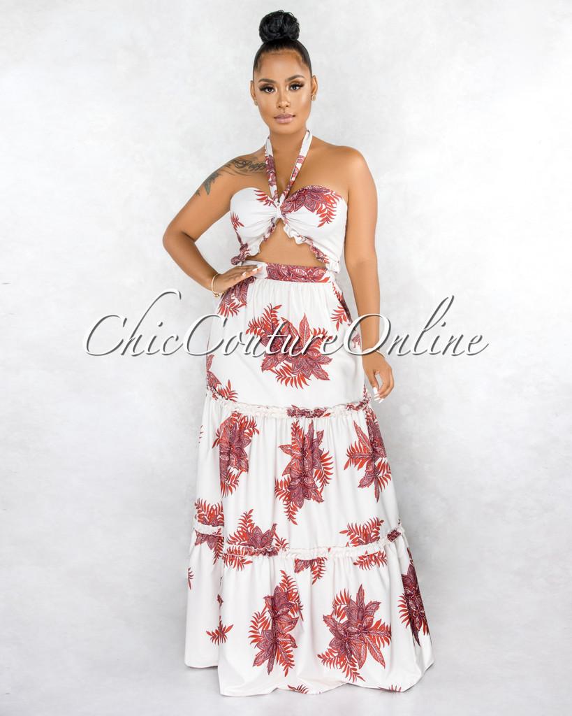 Kedrick Cream Red Floral Print Crop Top & Maxi Skirt Set
