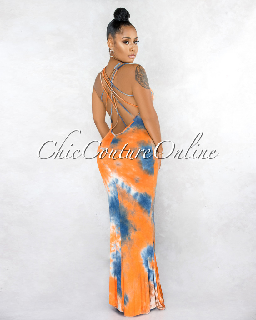 Idona Orange Navy-Blue Tie-Dye Low Strappy Back Maxi Dress