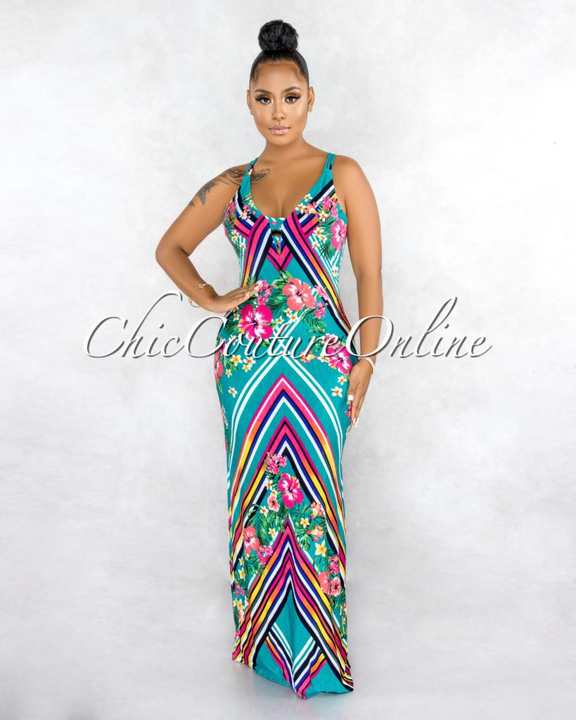 Jaimin Jade Multi-Color Print Strappy Back Maxi Dress
