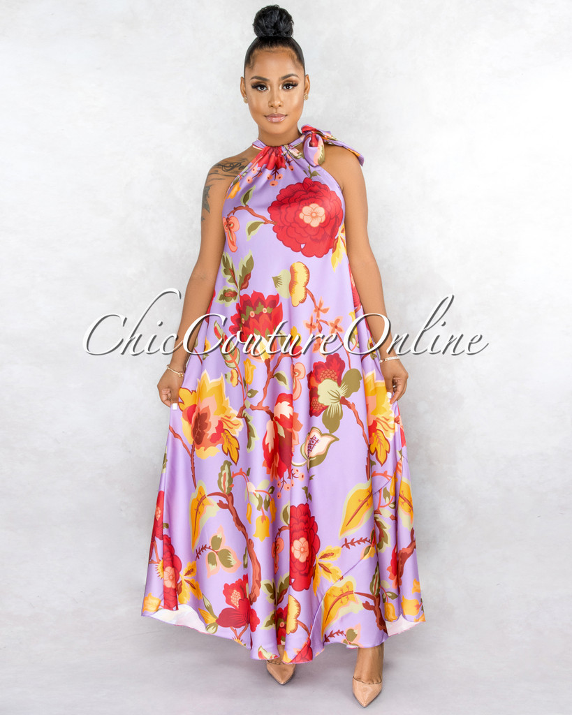 Ziona Purple Multi-Color Floral Print Neck-Tie Halter Dress