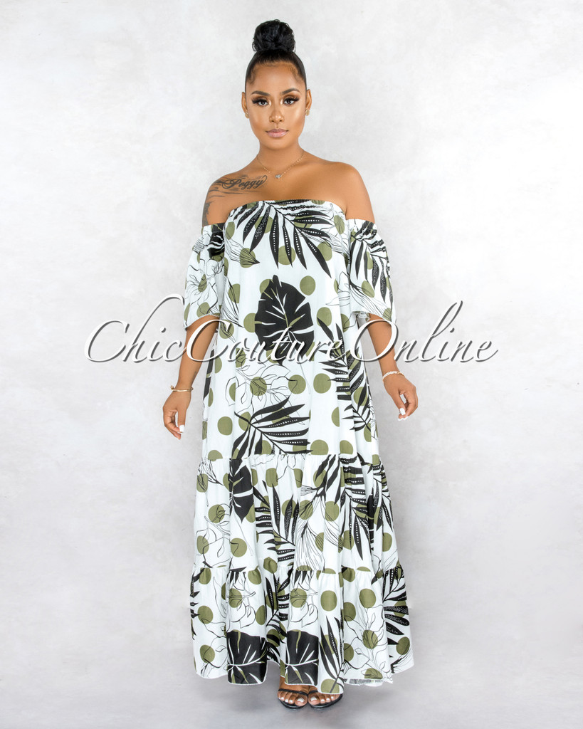 Budar Off-White Olive Black Leaf Ruffle Maxi Dress w Belt