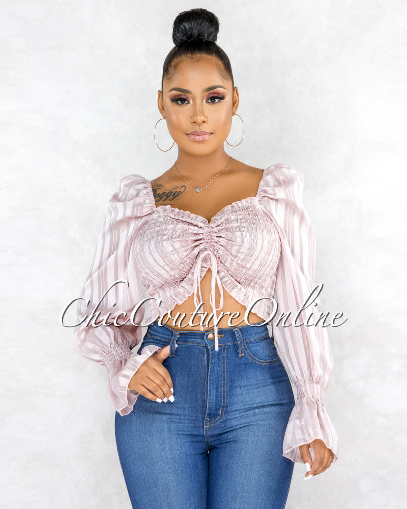Langley Blush Smoked Silky Stripes Sleeves Crop Top