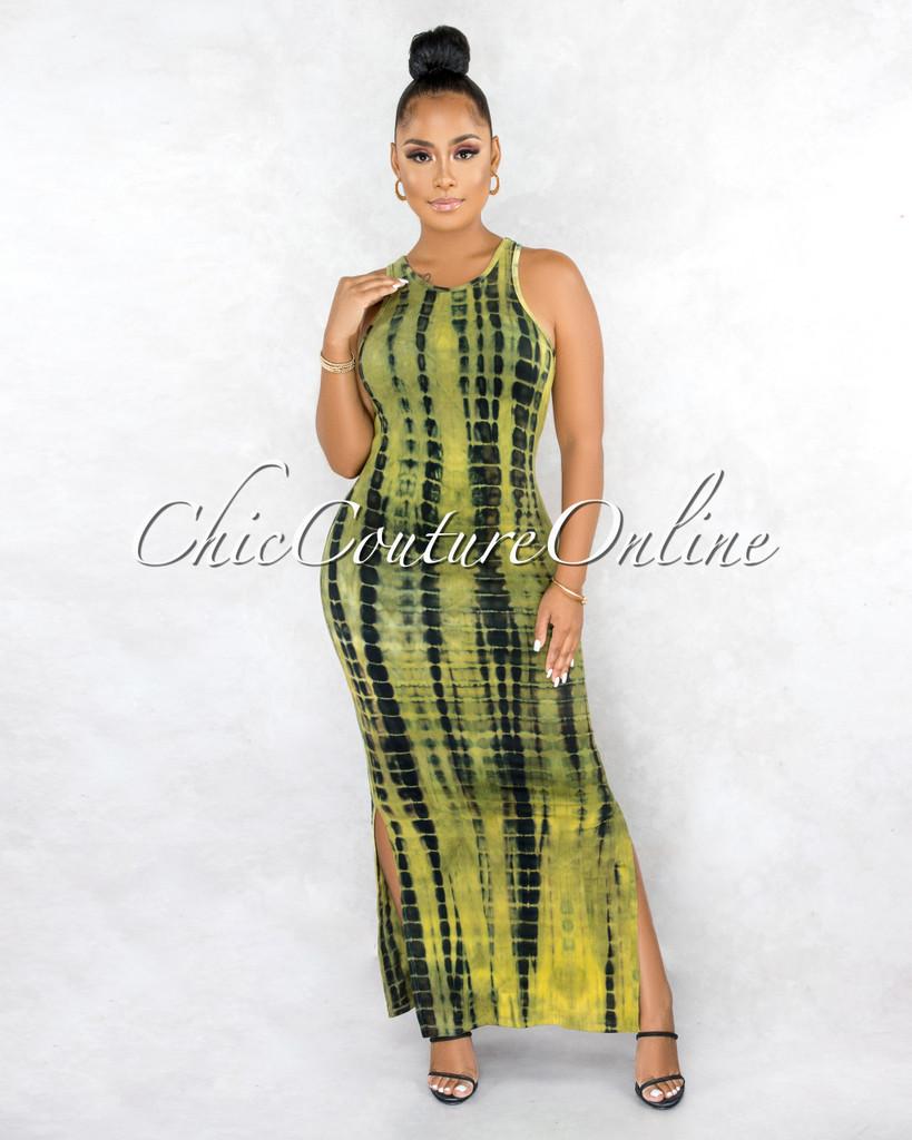 Velanie Olive Green Black Tie-Dye Side Slits Maxi Dress