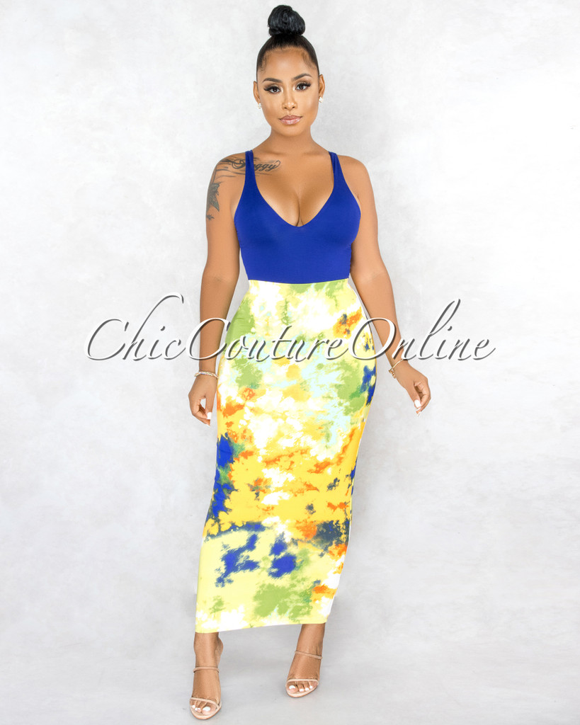 Perdita Yellow Green Print Maxi Body-Con Skirt
