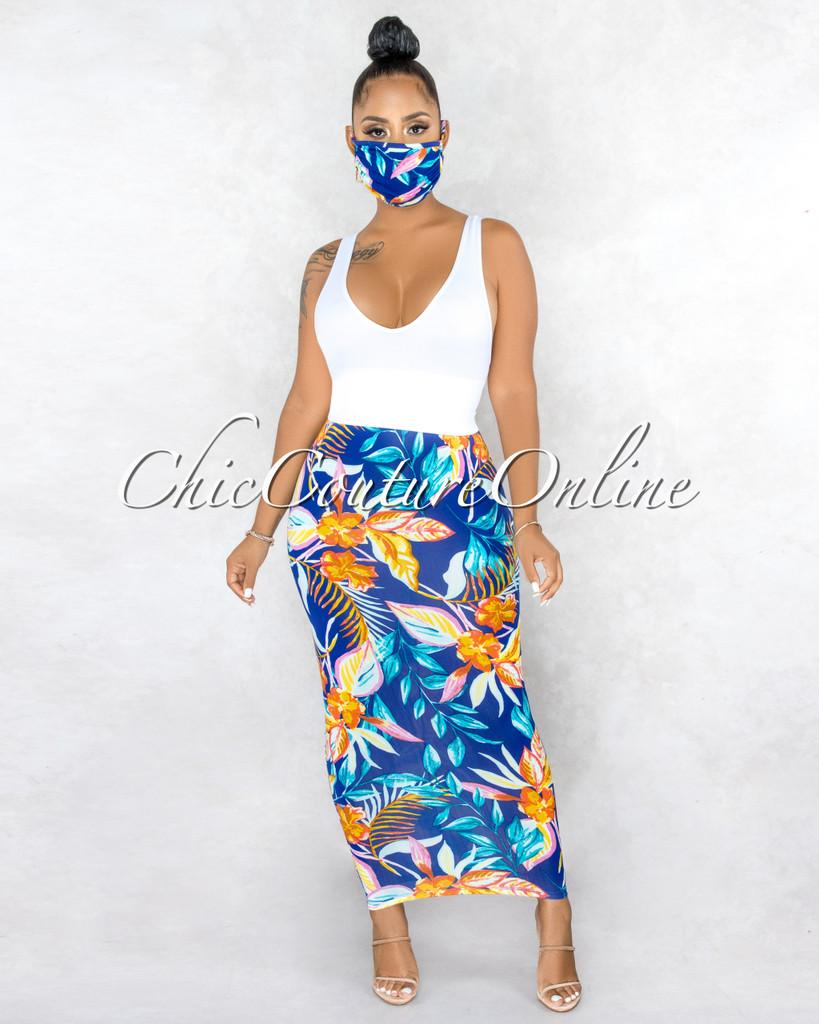 Fontaine Royal Blue Multi-Color Leaf Print Maxi Skirt w Mask