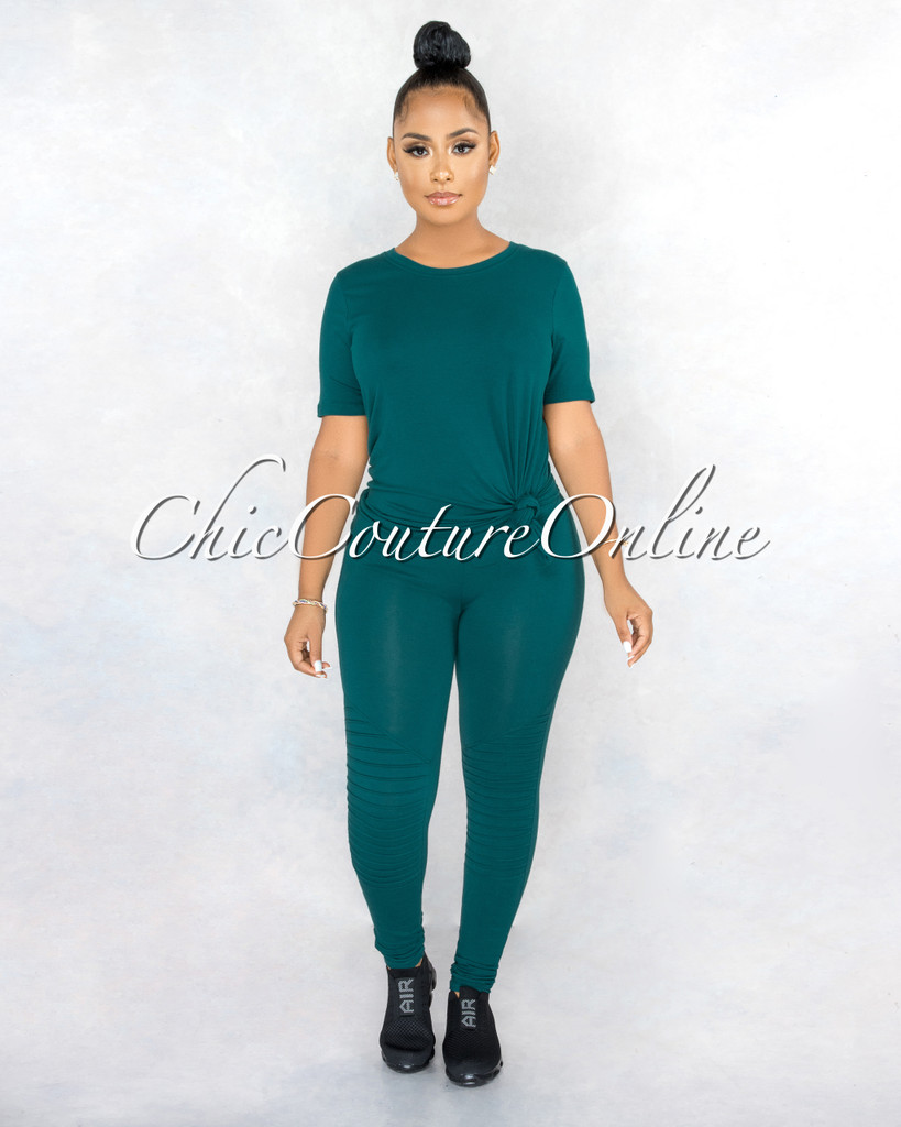 Gulzar Hunter Green Over-Sized Shirt & Leggings CURVACEOUS Set