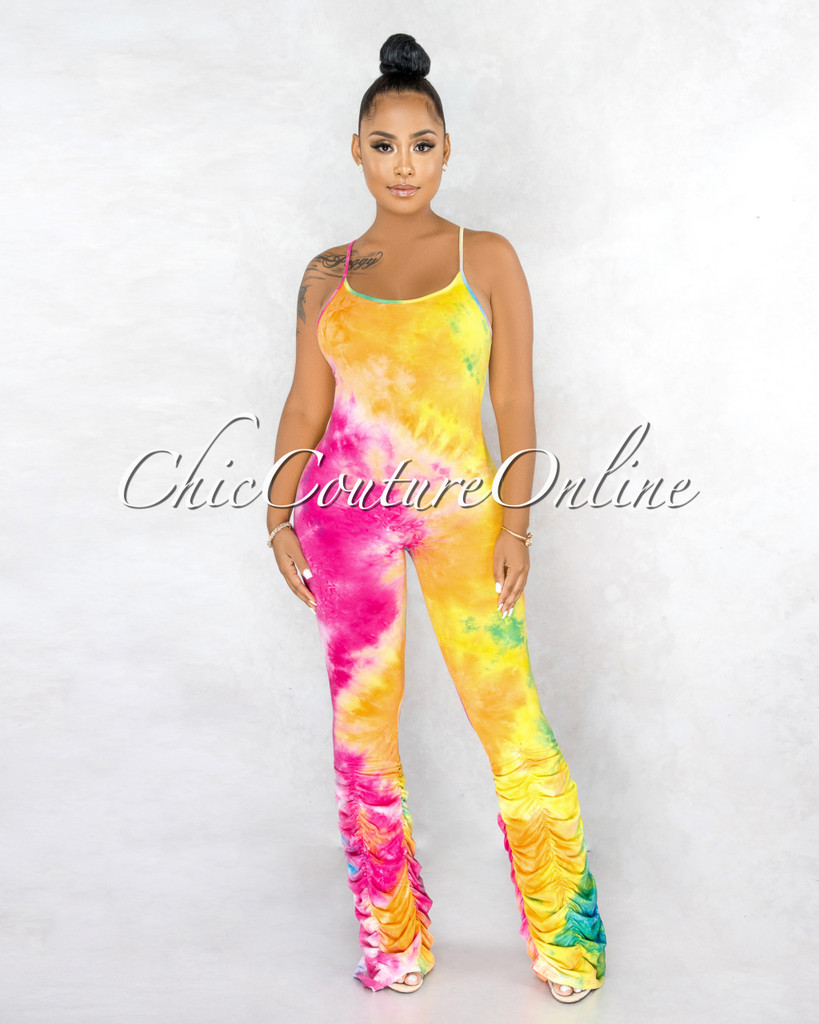 Chazona Rainbow Tie-Dye Ruched Legs Jumpsuit