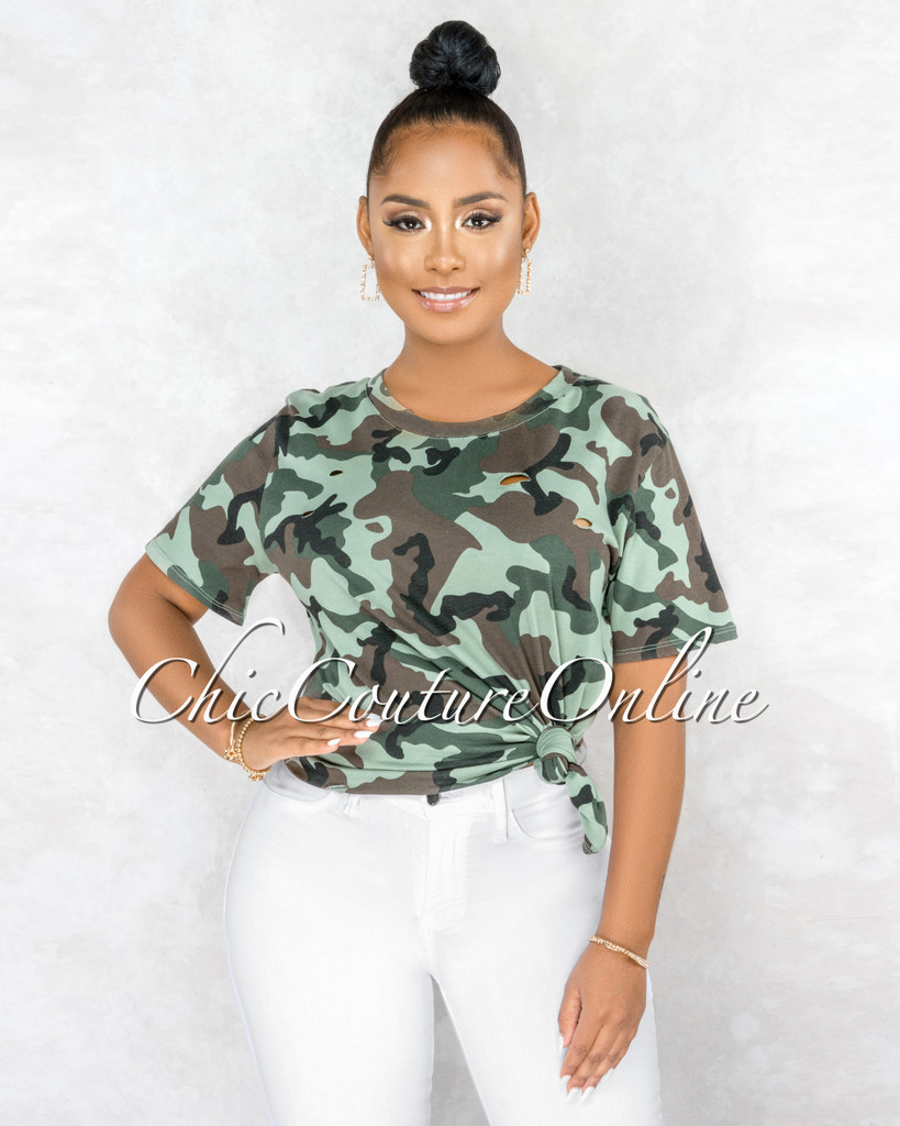 Eleacie Camo Print Distressed Over-sized T-Shirt