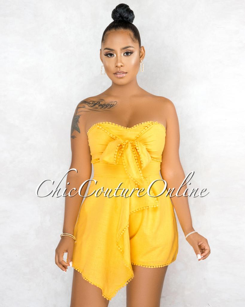 Osred Yellow Front Tie Crochet Details Flutter Romper