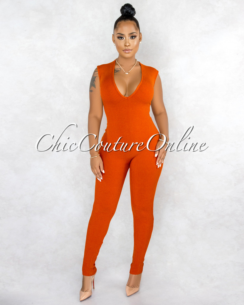 Joyner Orange Deep V-Neck Ribbed Jumpsuit