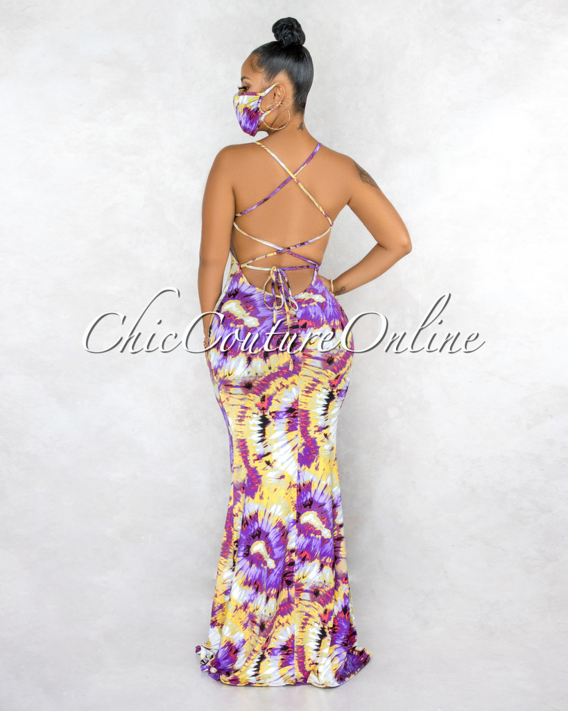 Garman Purple Yellow Tie-Dye Lace-Up  Back Maxi Dress & Mask