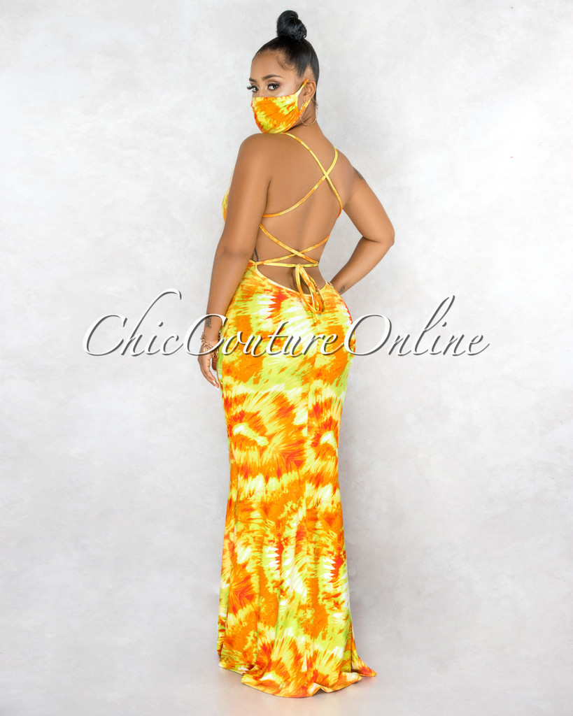 Garman Yellow Tie-Dye Lace-Up  Back Maxi Dress & Mask