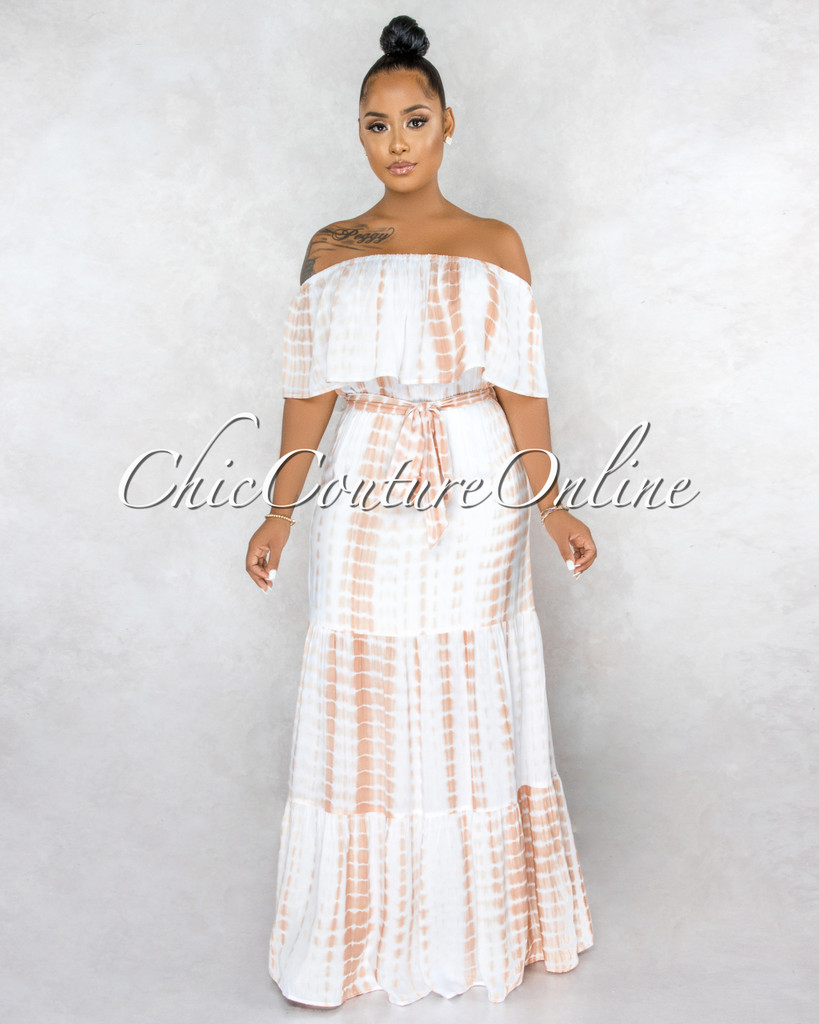 Idwal Taupe White Tie-Dye Off-The Shoulder Maxi Dress