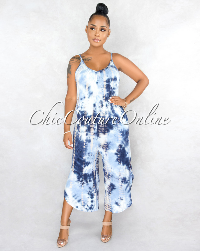 Uriela Blue White Tie-Dye Print Wide Legs Jumpsuit