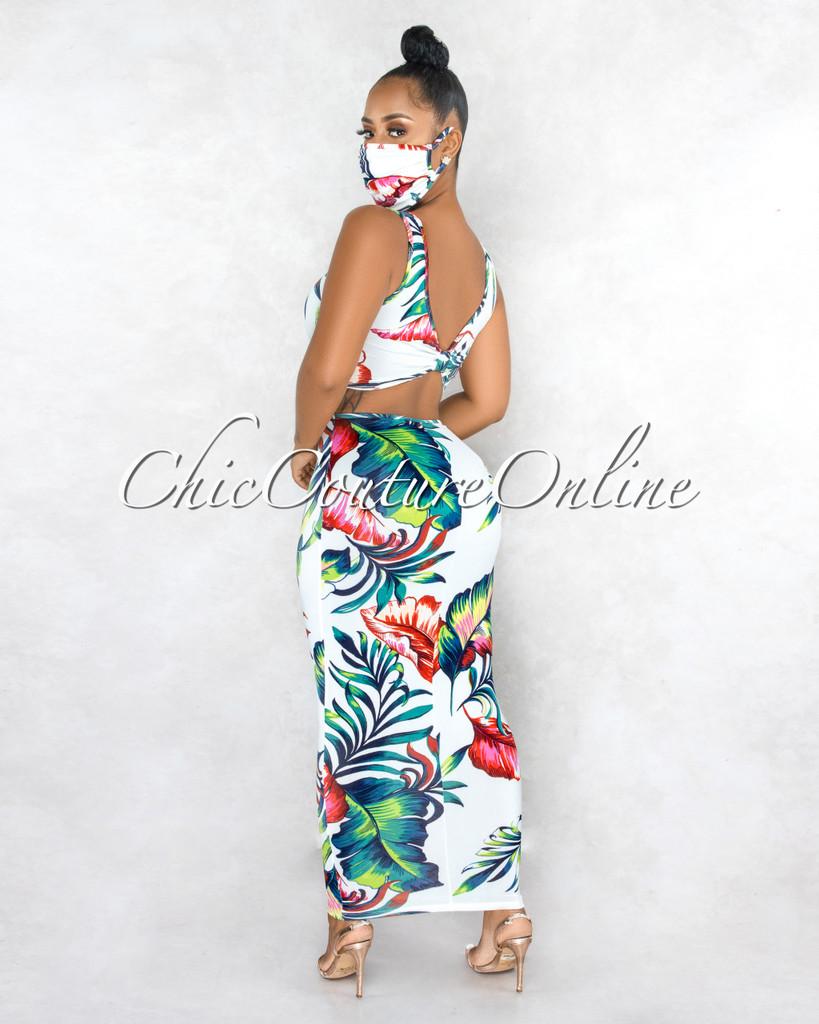 Halona White Green Leaf Print Back Key-Hole Dress & Mask