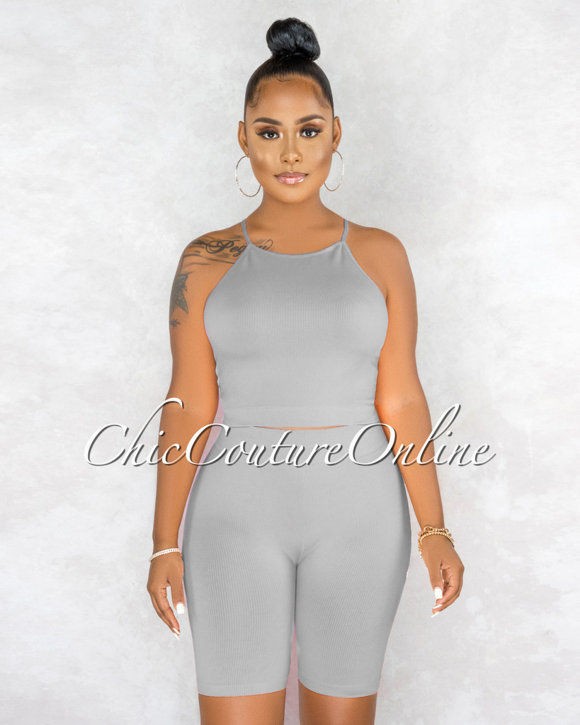Kimberly Grey Ribbed Racer Top Body-Con Shorts Set