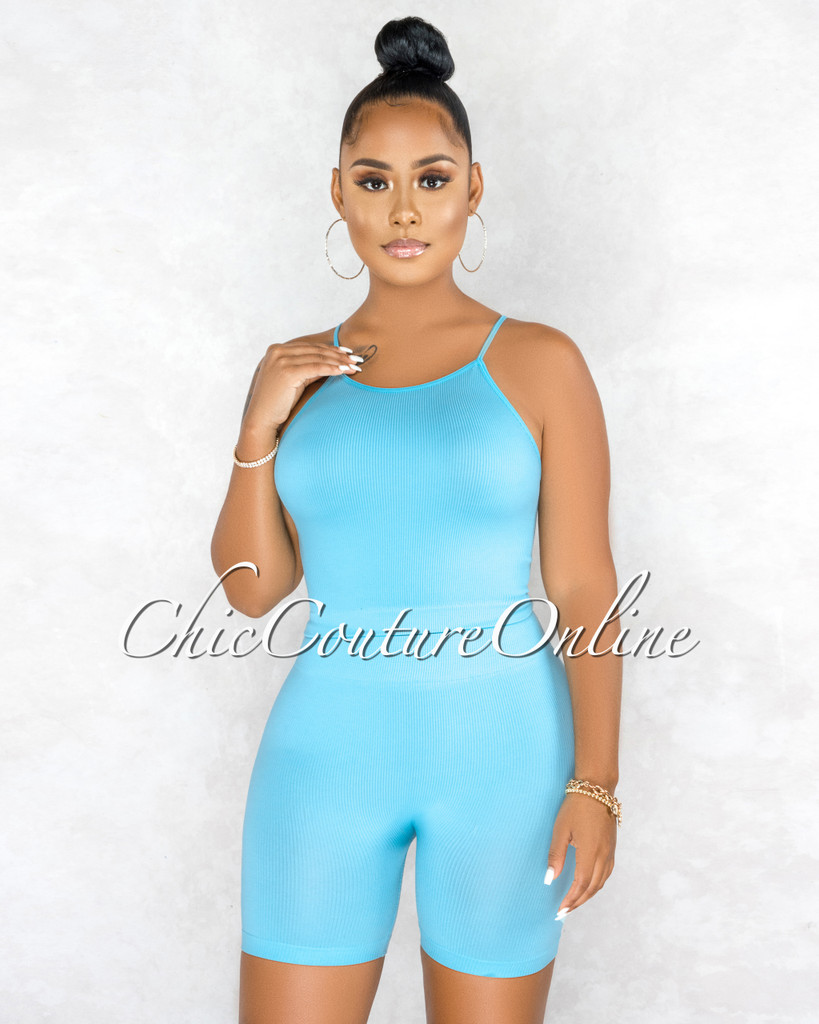 Kimberly Baby Blue Ribbed Racer Top Body-Con Shorts Set