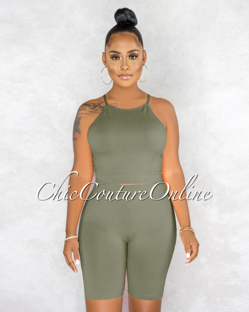 Kimberly Olive Ribbed Racer Top Body-Con Shorts Set