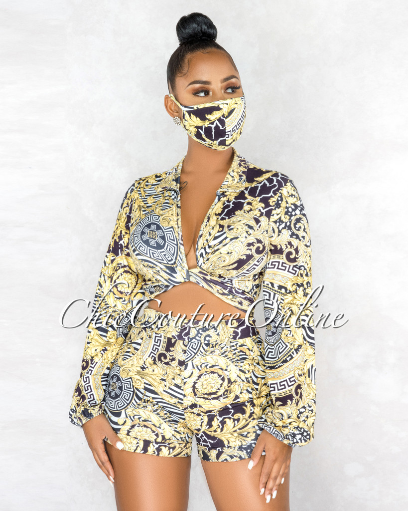 Gladus Black White Gold Print Top Shorts & Mask Set