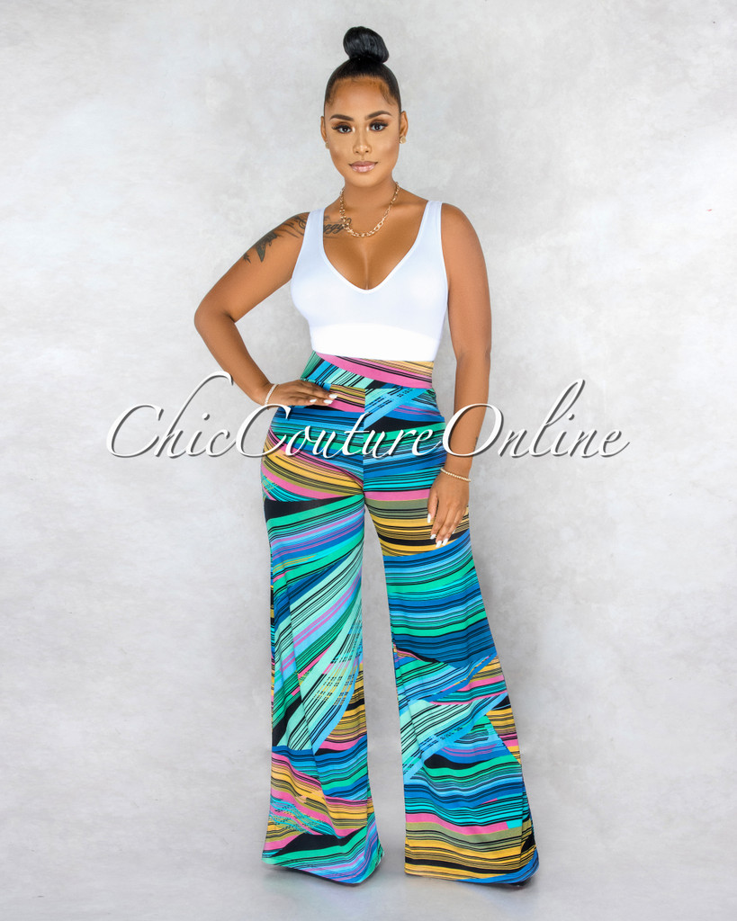 Alger Blue Multi-Color Stripes Palazzo Pants