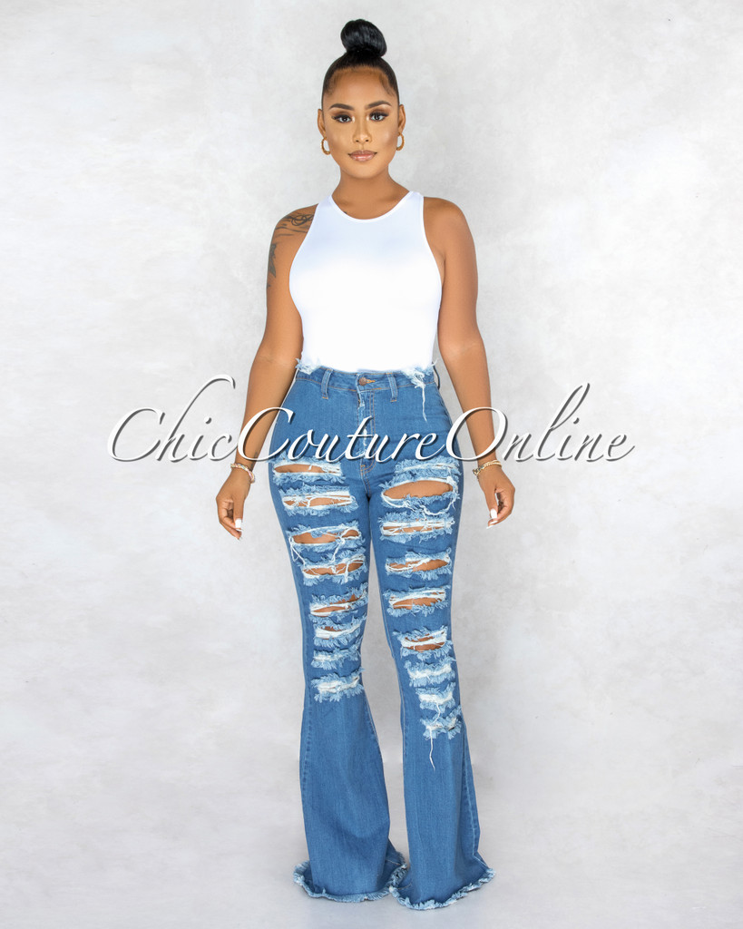 Aphrodite Dark Denim Destroyed Bell Legs Jeans