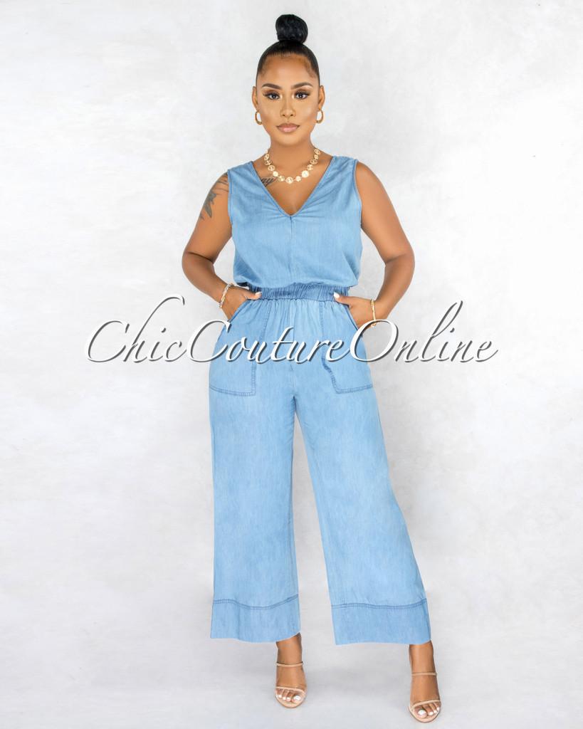 Makani Medium Blue Chambray Wide Legs Jumpsuit