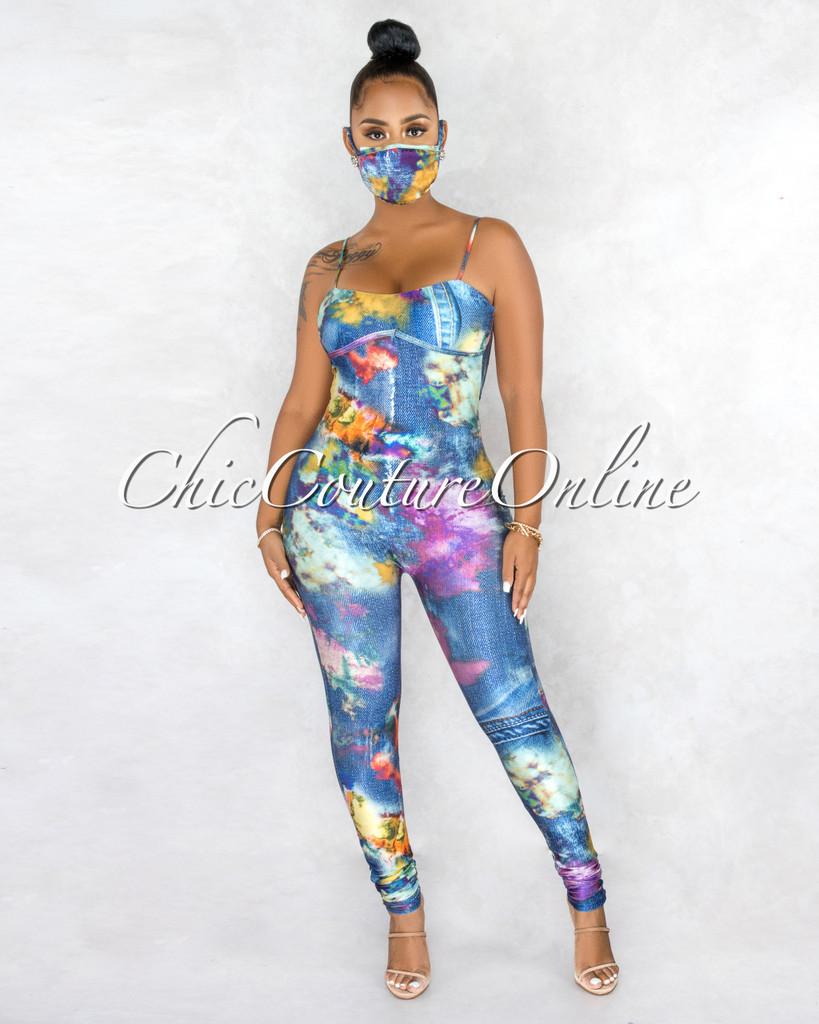 Rukan Blue Multi-Color Denim Print Jumpsuit & Mask