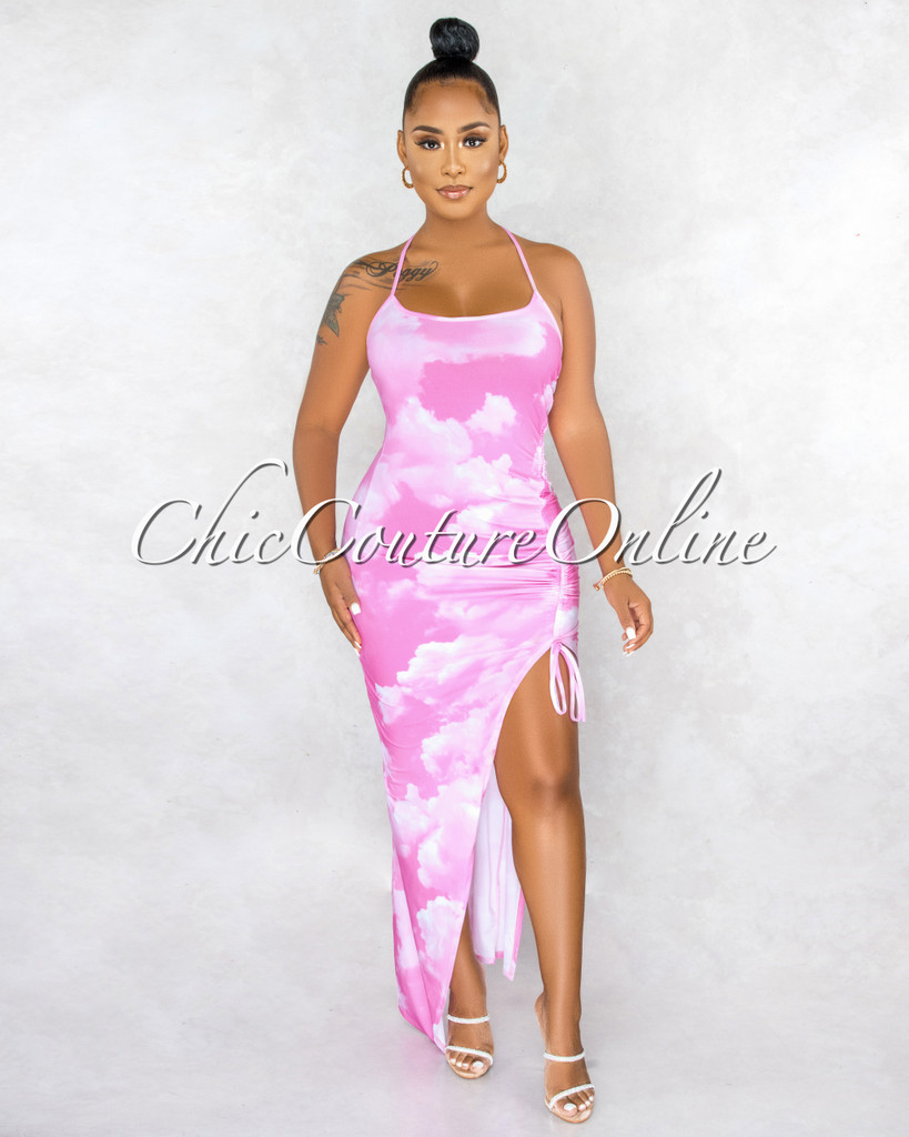 Heavenly Pink Clouds Print Ruched Side Slit Maxi Dress