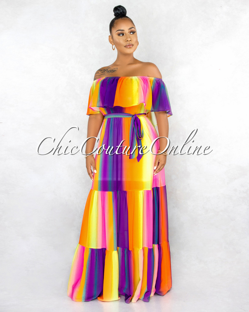 Nehama Orange Purple Ombre Off-The Shoulder Maxi Dress