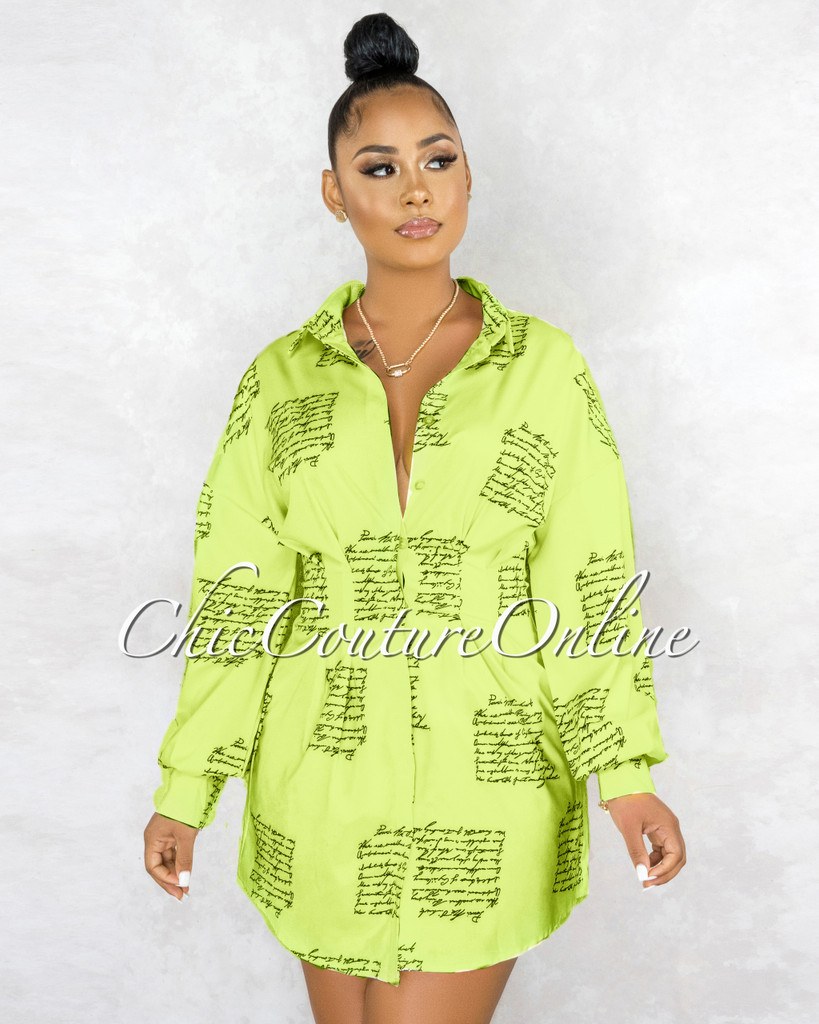 Canaima Lime Yellow Black Handwriting Pleated Shirt Dress